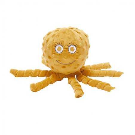 Doudou pieuvre moutarde pour naissance de la marque Milinane