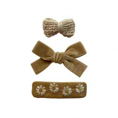 Trio de barrettes à cheveux beige pour enfants de la marque Gentil Coquelicot
