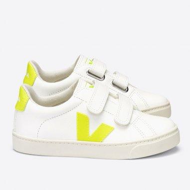 Sneakers Veja esplar velcro de couleur jaune fluo pour enfants