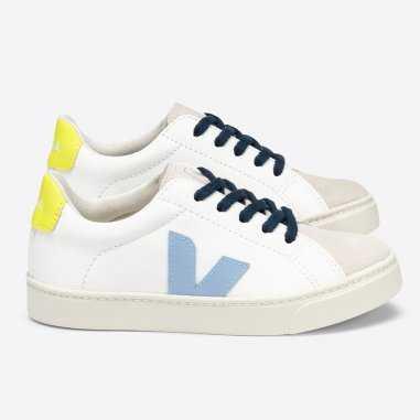 Sneakers Veja à lacets pour enfants de couleur jaune fluo
