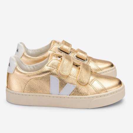Sneakers Veja esplar velcro de couleur doré pour enfants