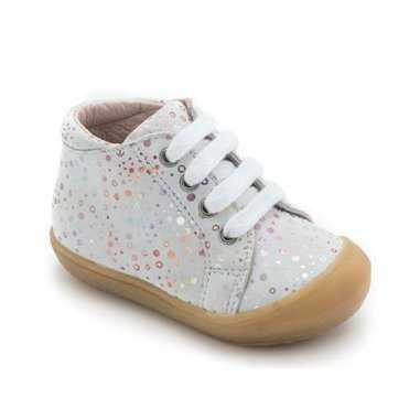Chaussures premiers pas de couleur argenté pour enfants de la marque Acebos