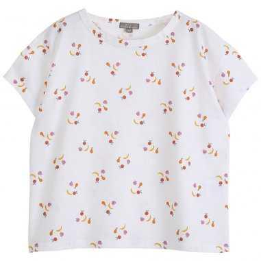 Tee-shirt de couleur écru à imprimés fruits pour enfants de la marque Emile et Ida