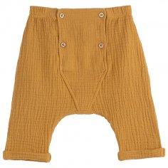 Pantalon sarouel de couleur caramel pour bébés de la marque Emile et Ida