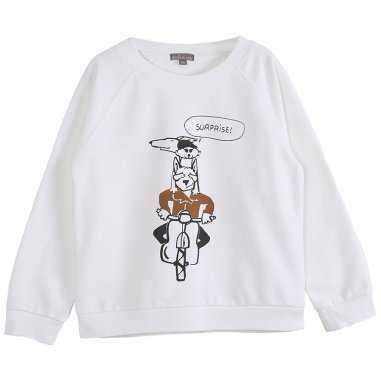 Sweatshirt de couleur écru moto pour enfants de la marque Emile et Ida