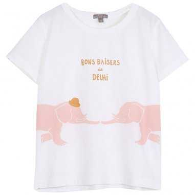 Tee-shirt de couleur écru à inscription bons baisers pour enfants de la marque Emile et Ida