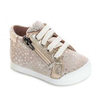 Chaussures premiers pas de couleur doré pour enfants de la marque Acebos