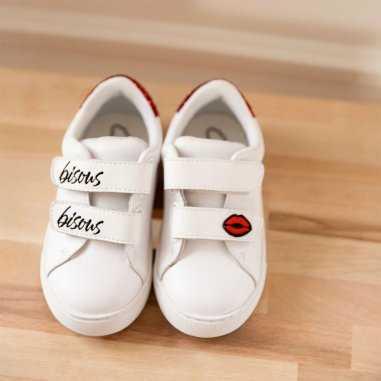 Sneakers mini edith bisous pour enfants de la marque Bons Baisers de Paname