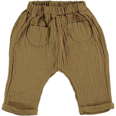 Pantalon de couleur camel en gaze de coton pour enfants Bean's Barcelona