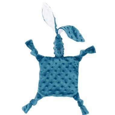 Petit doudou sensoriel lapin de couleur bleu pour bébés Elva Senses