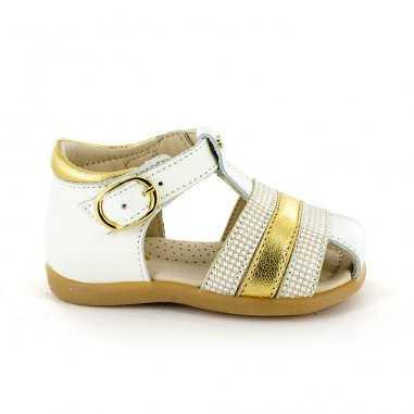 Sandales premiers pas blanches et or pour enfants de la marque Stones and Bones