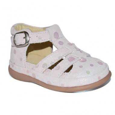 Sandales premiers pas de couleur rose poudré pour enfants Little Mary
