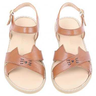 Sandales chat de couleur camel pour enfants Emile et ida