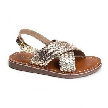Sandales tressées doré pour enfants et femmes de la marque L'Atelier Tropézien