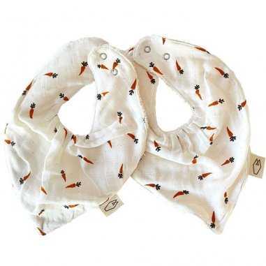 Duo bavoirs bandana carotte pour bébés de la marque Milinane