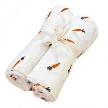 Duo de langes carotte pour bébés de la marque Milinane