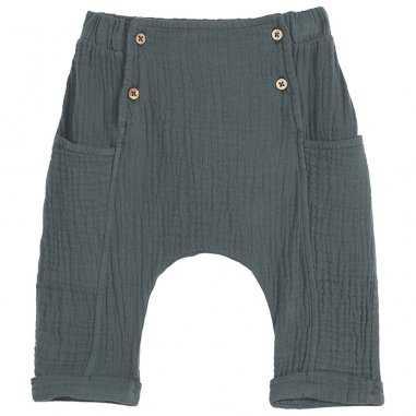 Pantalon sarouel gaze de coton vert canard pour bébés de la marque Emile et Ida