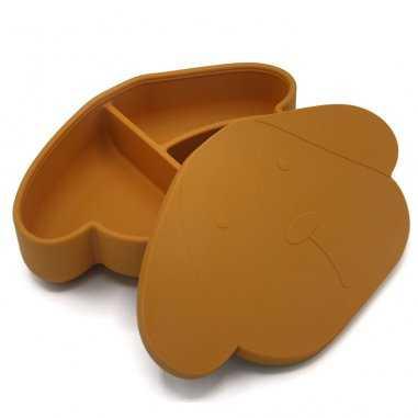 Boîte à goûter en silicone caramel chien pour enfants de la marque The Cotton Cloud