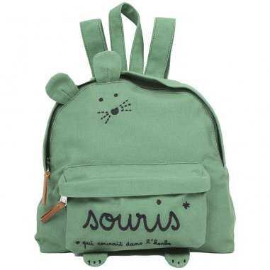 Sac à dos souriceau vert pour enfants de la marque Emile et Ida