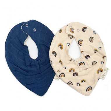 Duo de bavoirs bandana bleu nuit arc-en-ciel pour bébés de la marque Milinane