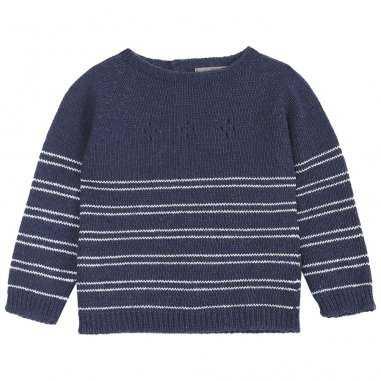 Pull en laine ajouré marine pour bébés de la marque Emile et Ida