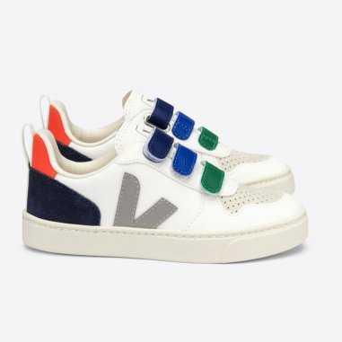 Sneakers V10 velcro chromefree white multico pour enfants de la marque Veja