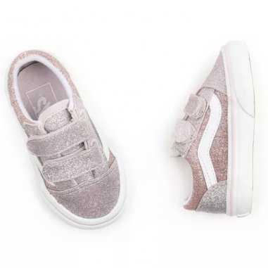 Sneakers Vans basse à scratchs de couleur rose pour enfants