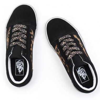 Sneakers Vans basse de couleur noire et léopard pour enfants et femmes