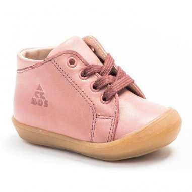 Chaussures premiers pas rose pour enfants de la marque Acebos