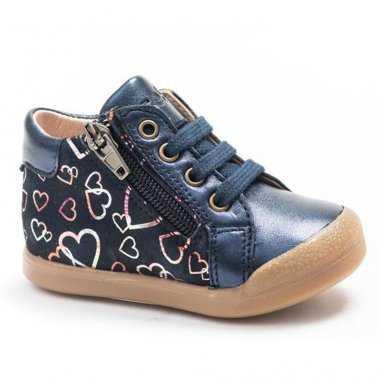 Chaussures coeurs marine pour enfants de la marque Acebos