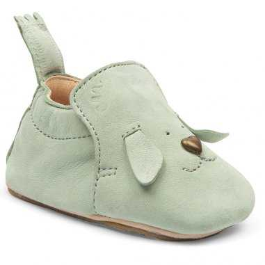 Chaussons antiderapants blublu chien vert d'eau pour enfants de la marque Easy Peasy