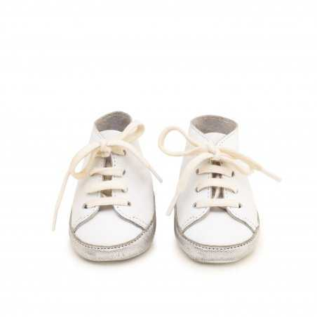 Chaussons bébés Alex Blanc argent