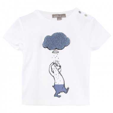 Tee-shirt bébé blanc et bleu d'été