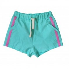 Short de bain de couleur vert d'eau et rose pour enfants de la marque Bandy Button