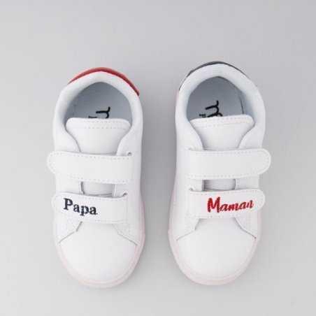 Sneakers blanche mini papa maman pour filles et garçons