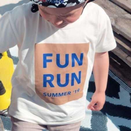 Tee-shirt fun run blanc et bleu pour enfants Tinycottons