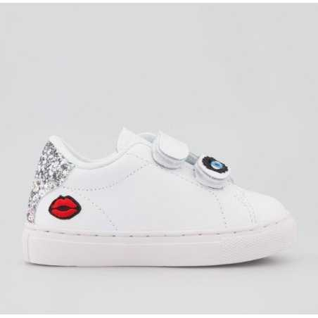 Sneakers blanche mini eyes pour fille