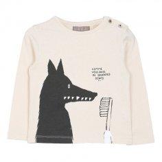 Tee-shirt pour bébés emile et ida écru motif loup