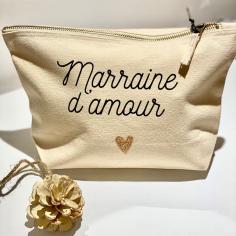 Trousse marraine d'amour en coton, c'est un idée cadeau originale à petit prix